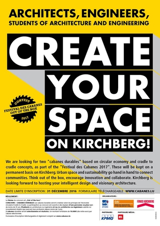 Festival des cabanes 2017 - Architects, Engineers, Students of architecture and engineering : create your space on Kirchberg !